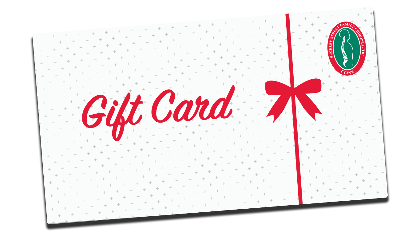 Spineline gift card with red font and bow