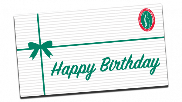 Green bow with green happy birthday text